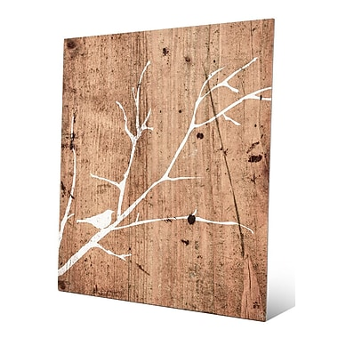 Click Wall Art 'White Bird on Wood Background' Graphic Art Print on Metal; 14'' H x 11'' W x 1'' D