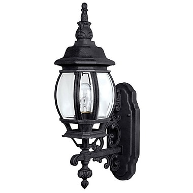 Alcott Hill Herkimer 1-Light Outdoor Wall Lantern; Black