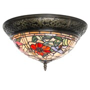 Astoria Grand Paule Tiffany Style Stained Glass Peonies 2-Light Flush Mount