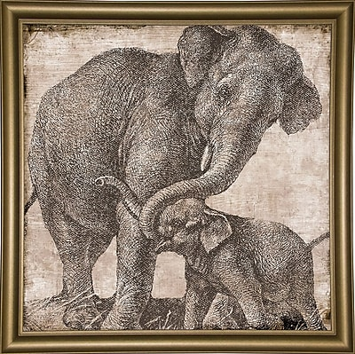 Bloomsbury Market 'Elephant 2' Graphic Art Print; Bistro Gold Framed Paper