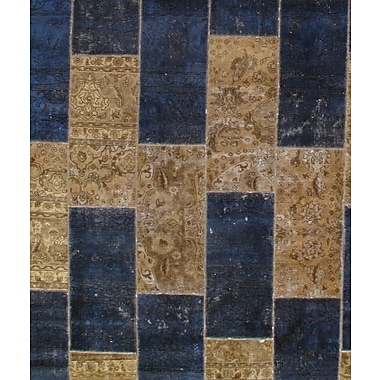 Pasargad NY Hand-Knotted Wool Tan/Navy Area Rug