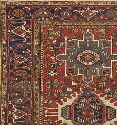 Pasargad NY Persian Karajeh Original Hand Knotted Wool Rust/Navy Area Rug