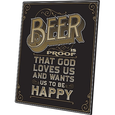 Click Wall Art Beer is Proof That God Loves Us Textual Art Plaque in Black; 24'' H x 20'' W x 1'' D