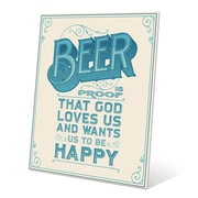 Click Wall Art Beer is Proof That God Loves Us Textual Art Plaque in Beige; 20'' H x 16'' W x 1'' D