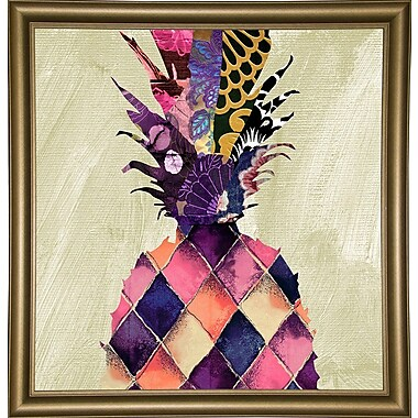 Bloomsbury Market 'Pineapple Brocade II' Rectangle Graphic Art Print; Bistro Gold Framed Paper