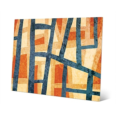Click Wall Art 'Behind the Curtains Orange and Blue' Graphic Art on Plaque; 11'' H x 14'' W x 1'' D