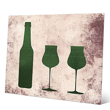 Click Wall Art Distressed Emerald Bottle and Glasses Graphic Art on Plaque; 11'' H x 14'' W x 1'' D