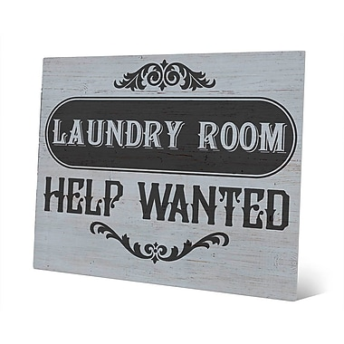 Click Wall Art Metal Laundry Room Help Wanted Textual Art on Plaque in Gray; 20'' H x 24'' W x 1'' D