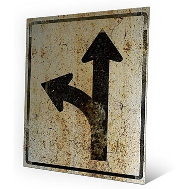 Click Wall Art 'Turn Left or Keep Straight Weathered' Graphic Art on Plaque; 20'' H x 16'' W x 1'' D