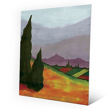 Click Wall Art Two Cypress Trees over Autumn Field Painting Print on Plaque; 20'' H x 16'' W x 1'' D