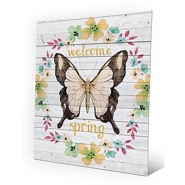 Click Wall Art 'Welcome Spring - Apricot Butterfly' Graphic Art on Plaque; 20'' H x 16'' W x 1'' D