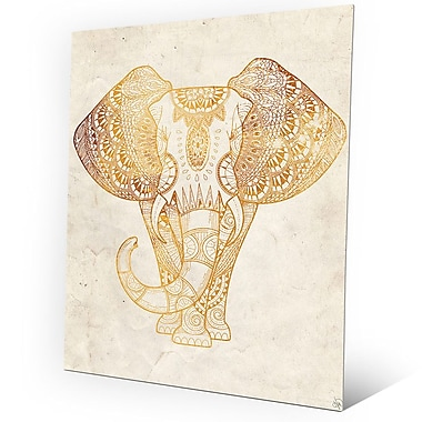 Click Wall Art 'Yellow Mehndi Elephant On Parchment' Graphic Art on Plaque; 30'' H x 20'' W x 1'' D