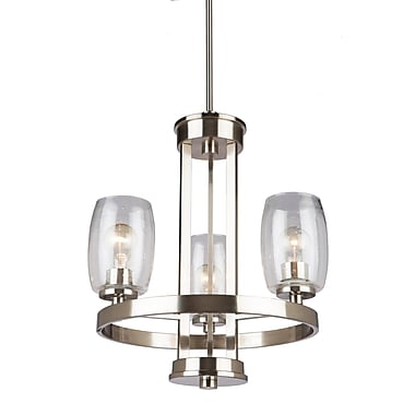Red Barrel Studio Nelly 3-Light Candle-Style Chandelier; Brushed Nickel