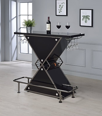 Orren Ellis Lacoste Pub Table; Glossy Black