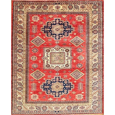 Pasargad NY Kazak Hand-Knotted Wool Coral/Ivory Area Rug