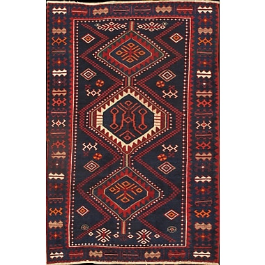 Pasargad NY Persian Bakhtiari Hand Knotted Wool Navy/Red Area Rug