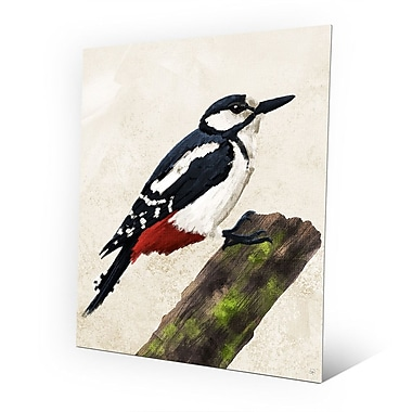 Click Wall Art 'Painted Great Spotted Woodpecker' Print of Painting on Metal; 10'' H x 8'' W x 1'' D