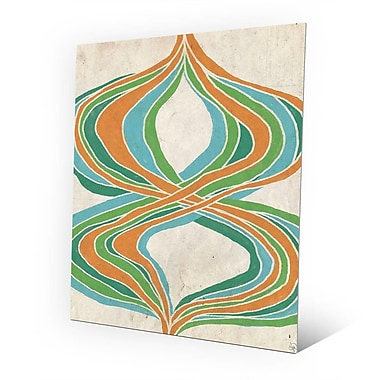 Click Wall Art 'Threads of Time Green and Orange' Print of Painting on Metal; 10'' H x 8'' W x 1'' D