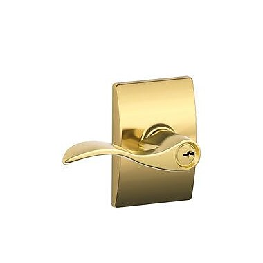 Schlage Accent Keyed Entry Door Lever w/ Century Rosette; Polished Brass