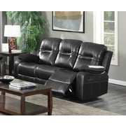 Brassex Napolean Recliner Reclining Sofa; Black