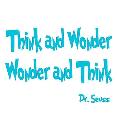 VWAQ Think and Wonder, Wonder and Think Dr Seuss Quote Wall Decal; Sky Blue