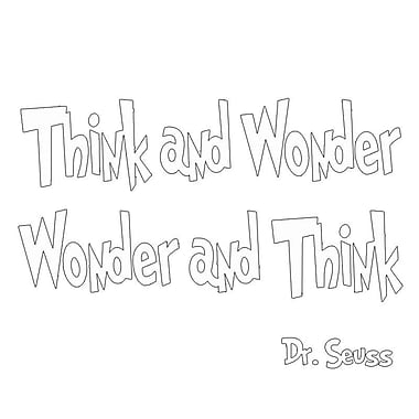 VWAQ Think and Wonder, Wonder and Think Dr Seuss Quote Wall Decal; White