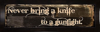 Ebern Designs 'Gunfight' Textual Art; Affordable Black Medium Framed Paper