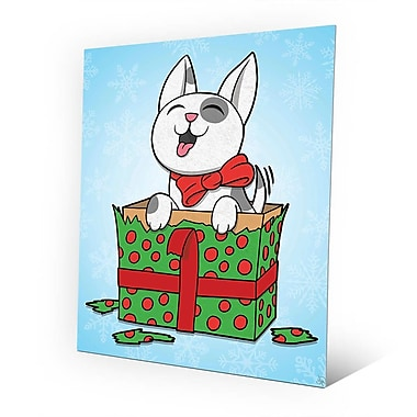 Click Wall Art 'Puppy Present - Green in Blue Snow' Graphic Art on Plaque; 24'' H x 20'' W x 1'' D