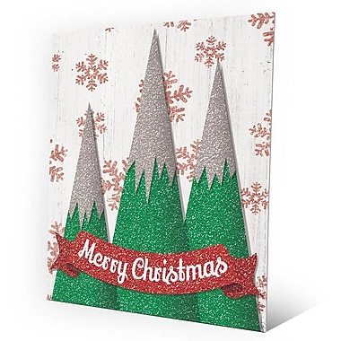 Click Wall Art 'Merry Christmas Mountains' Graphic Art on Plaque in Green; 24'' H x 20'' W x 1'' D