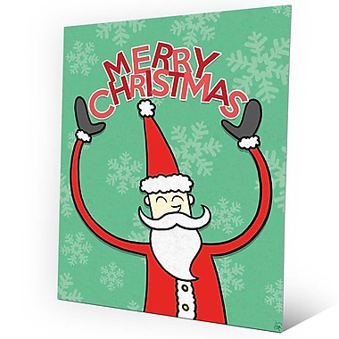 Click Wall Art 'Merry Christmas - Red Santa in Green' Graphic Art on Plaque; 14'' H x 11'' W x 1'' D