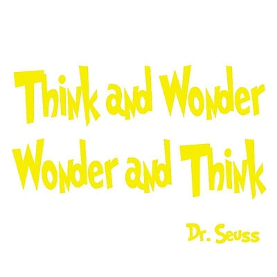VWAQ Think and Wonder, Wonder and Think Dr Seuss Quote Wall Decal; Yellow
