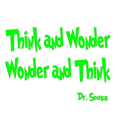 VWAQ Think and Wonder, Wonder and Think Dr Seuss Quote Wall Decal; Lime Green