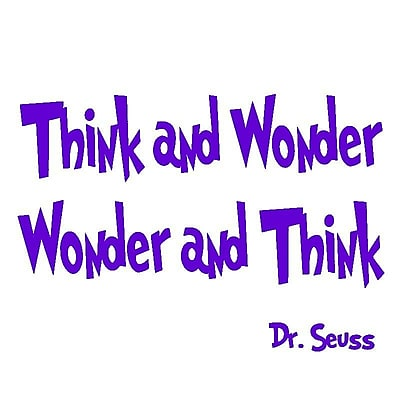 VWAQ Think and Wonder, Wonder and Think Dr Seuss Quote Wall Decal; Purple