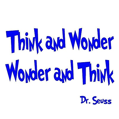 VWAQ Think and Wonder, Wonder and Think Dr Seuss Quote Wall Decal; Royal Blue