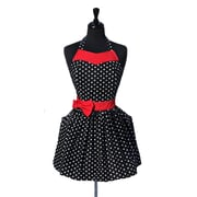 August Grove Polka Dot Cotton Apron; Red