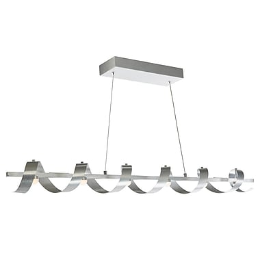 Orren Ellis Aquilino 6-Light Kitchen Island Pendant; Brushed Aluminum