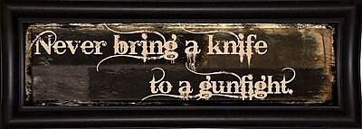 Ebern Designs 'Gunfight' Textual Art; Bistro Espresso Framed Paper