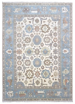 Darby Home Co Barnabe Oriental Hand-Woven Wool Blue Area Rug