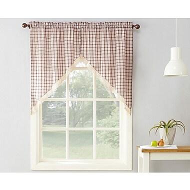 No. 918 Maisie Plaid 56'' Kitchen Curtain; Ruby