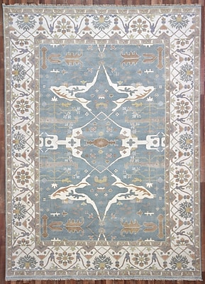 Darby Home Co Barnabe Oriental Rectangle Hand-Woven Wool Blue Area Rug