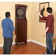 "Hathaway™ 81"" x 9 1/4"" x 54"" Outlaw Free Standing Dartboard and Cabinet Set, Cherry"