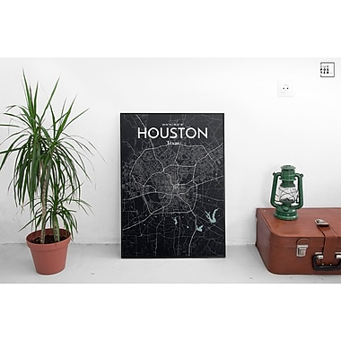 OurPoster.com 'Houston City Map' Graphic Art Print Poster in Midnight; 20'' H x 16'' W