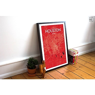 OurPoster.com 'Houston City Map' Graphic Art Print Poster in Nautical; 27.56'' H x 19.69'' W