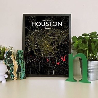 OurPoster.com 'Houston City Map' Graphic Art Print Poster in Contrast; 24'' H x 18'' W