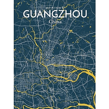 OurPoster.com 'Guangzhou City Map' Graphic Art Print Poster in Amuse; 24'' H x 18'' W