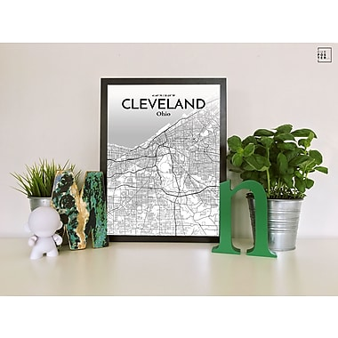 OurPoster.com 'Cleveland City Map' Graphic Art Print Poster in Tones; 27.56'' H x 19.69'' W