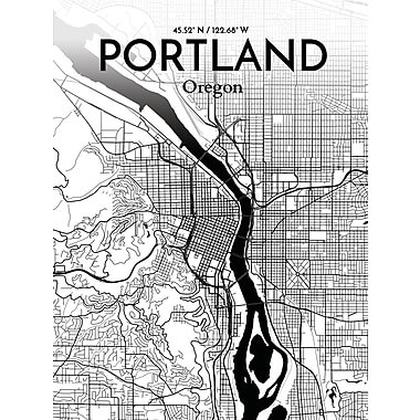 OurPoster.com 'Portland City Map' Graphic Art Print Poster in Ink; 36'' H x 24'' W