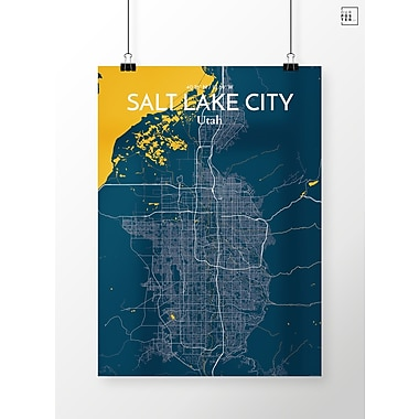 OurPoster.com 'Salt Lake City City Map' Graphic Art Print Poster in Amuse; 17'' H x 11'' W