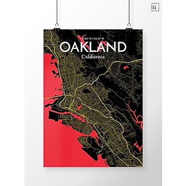OurPoster.com 'Oakland City Map' Graphic Art Print Poster in Contrast; 20'' H x 16'' W