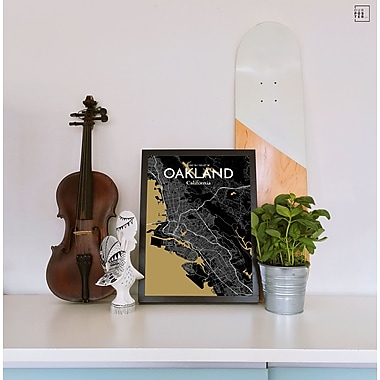 OurPoster.com 'Oakland City Map' Graphic Art Print Poster in Luxe; 27.56'' H x 19.69'' W